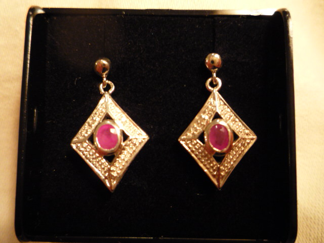 Ruby and Diamond drop earrings set in Silver